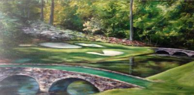 Golf course in Augusta with bridge, painting