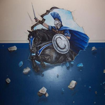 Columbia middle School mascot mural - raiders