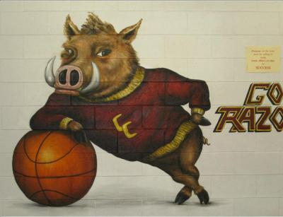 school mascot mural - Cross Creek High School