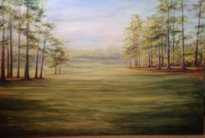 golf course, Augusta, morning, landscape